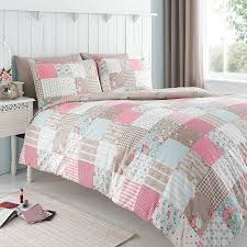 pink patchwork duvet cover set with