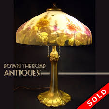 pittsburgh reverse painted table lamp with ble bees roses
