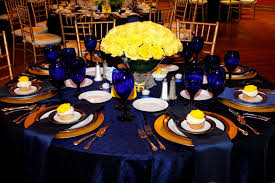 Blue And Gold Table Setting Blue And Yellow Wedding Table Decorations Crown Weddings Pam