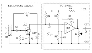 condenser microphone amplifier another post amplifier used to match the microphone to a regular non electret amplifier input this circuit provides high gain and an opportunity to shape