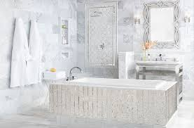 white marble mosaic bathtub