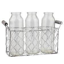 Decorative Milk Bottles Stonebriar Collection Clear Wire and Glass Milk Bottles With Caddy 84