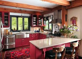 rustic red kitchen cabinets red steel beam kitchen rustic with eclectic top kitchen islands and carts