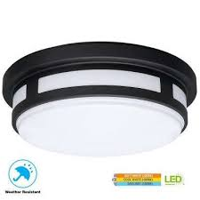 round black integrated led outdoor flushmount porch light with color temperature changing feature