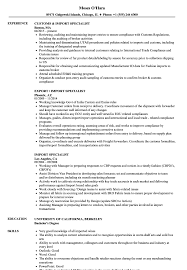 Download Import Specialist Resume Sample as Image file
