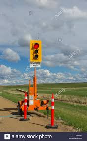 Alberta Traffic Lights A Portable Traffic Light For A Highway Construction Site In