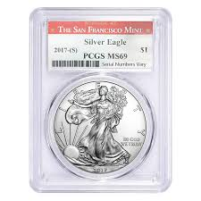 2017 S 1 Oz Silver Eagle Coin Pcgs Ms 69 Sf Bullion