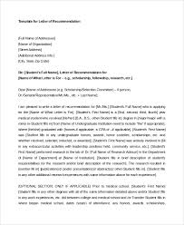 Sample Scholarship Recommendation Letter Template Students And