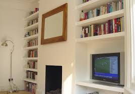 tv cabinet and 18 floating alcove shelves carpentry joinery job in stoke newington north london mybuilder