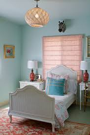 turquoise and lime green bedding bedroom contemporary with basket bedside table c image by erika bierman photography