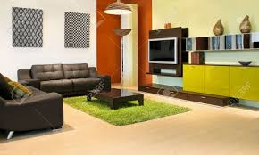 Terracotta Living Room Modern Living Room With Green And Terracotta Colors Stock Photo