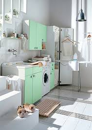 Interior:Good Laundry Room With White Storage Above Twin Washer And Dryer  Side By Side