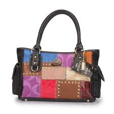 Latest Coach Holiday Logo Stud Medium Black Multi Satchels Ebx Sale 1WIWP