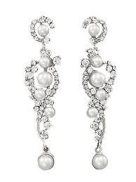 white pearl and rhinestone silvertone chandelier earrings white pearl and rhinestone silvertone chandelier earrings