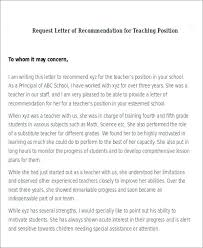 Letters Of Recommendations For Teachers Samples Of Letters Of Recommendation For Teachers Example Letter