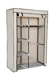 mulsh closet wardrobe portable clothes storage organizer with metal shelves and