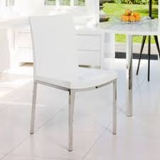 dwell gloss and chrome dining chair white