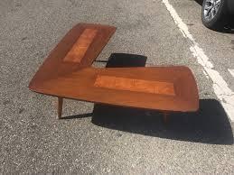 mid century walnut burlwood coffee table