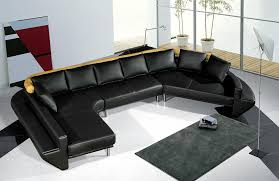 Tosh Furniture Ultra Modern Black Leather Sectional Sofa Set