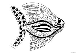 Coloriage Poisson Animaux Fish Ocean Dessin