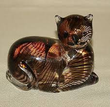 4 lenox tawny tigress glass cat figurine amber black stripes coa