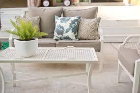 White patio furniture White Resin Wicker Backyard Patio Furniture Styling Domestic Fashionista Domestic Fashionista Backyard Patio Furniture Styling