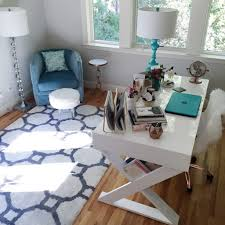blue white office space. i knew that the teal color hp notebook would look nice in our great room as well so when kids want to use it can set up at blue white office space