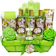 bath and body gift basket for women magnolia and jasmine home spa set includes fragrant lotions bath towel shower gloves green wired bread