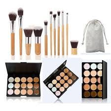 15 colors contour face cream makeup concealer palette 11 pcs bamboo brush set ebay