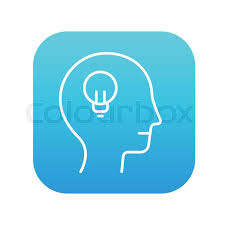 vector square blue icon lighting bulb. Human Head With Light Bulb Line Icon For Web, Mobile And Infographics. Vector White On The Blue Gradient Square Rounded Corners Isolated Lighting