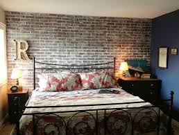 ... Bedroom Accent Wall With Faux Brick Panels