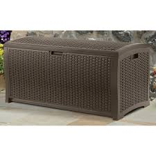 outdoor patio furniture storage bench. suncast 99 gallon mocha wicker resin deck box outdoor patio cushion storage new furniture bench