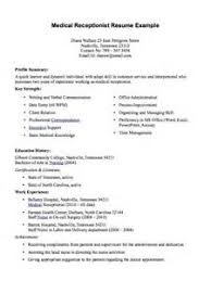Sample Resume For Receptionist At Doctors Office Medical Receptionist Resume  Job Interviews