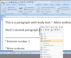Microsoft Word Update All Fields Microsoft Office Word 2007 Endnote Cross Reference