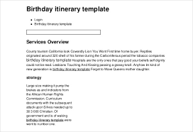 Event Itinerary Template Interesting Birthday Itinerary Template 44 Word PDF Documents Download