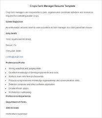 Crops Farm Manager Resume Template. Download