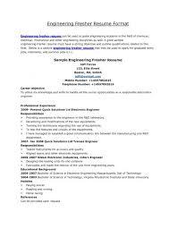 Mechanical Fresher Resume Samples Fresh Resume Format For Freshers