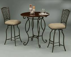 36 round wood top wrought iron pub table set with two chairs free continental us ground table autumn rust metal finish with monarch wood