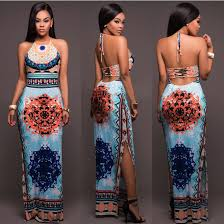 African Pattern Dress Gorgeous African Pattern Low Back Halter Maxi Dress 48mpresz