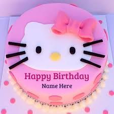 Write Name On Cute Kitty Birthday Wishes Cakekitten Cake With Your