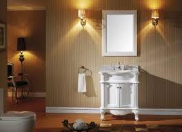 single white wooden vanity with sink on laminate flooring plus