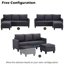 modern linen fabric sectional sofa l