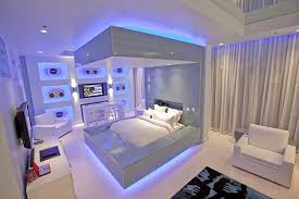 Chic Cool Lights For Bedroom In White With Purple Colored Light