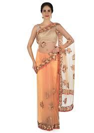 Cutdana Work Saree Designs Buy Light Peach Saree In Net With Sequin And Cut Dana Work