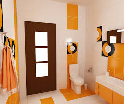 Bilder 3d Interieur Badezimmer Orange Schwarz Baie Biosfarm 7