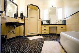 black hexagonal vintage bathroom floor tile ideas