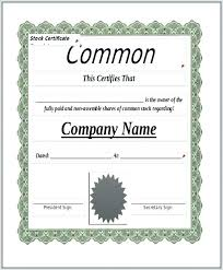 Template For Stock Certificate Blank Stock Certificate Template Form Certificates Paper