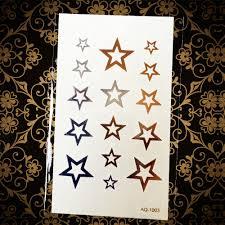 прекрасная звезда временная татуировка золото металлик поддельные флэш