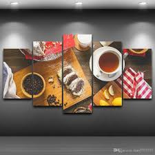 pls note it is unframed unstretched just paint on canvas if you need frame pls contact us  on wall art pictures of food with 2018 5 panel unframed coffee food wall canvas paintings hd print