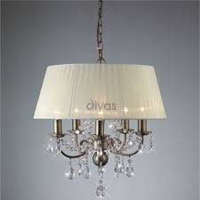 diyas uk olivia il il30048 antique brass crystal five light pendant ceiling fitting with ivory